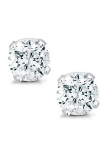 0.50 CTW ROUND CUT NATURAL DIAMONDS STUD EARRINGS 14K WHITE GOLD $750 Value
