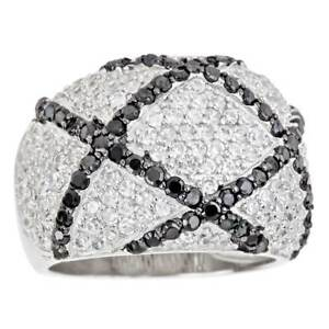 Decadence Sterling Silver Micropave Black and White Criss Cross Cocktail Ring