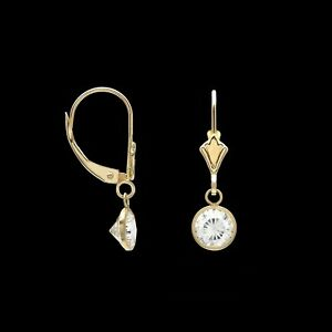 1ct. t.w. Created Diamond Bezel Earrings 14k Yellow Gold Drop Dangle Leverback