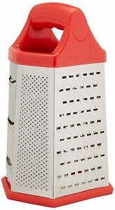 Uniware 9 Inch Kitchen Cheese Grater Shredder Six Sided Grater,Red/Orange