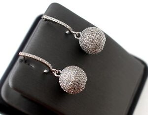 18k 18ct White Gold 3.41 Carat Diamond Elegant Earring Brilliant Ball Design