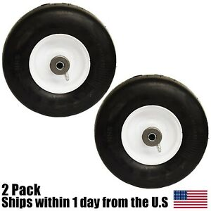 2 Flat Free Solid Tire Front Caster Wheel 9x3.50 4 Fits Ferris Mower 1521181