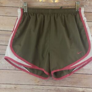 Women's Nike Dry Fit Tempo Shorts Brown Pink White Running Lined Size Small