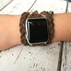 Braided Leather Apple Watch iWatch Band Brown Multi Wrap Strap Bracelet Women
