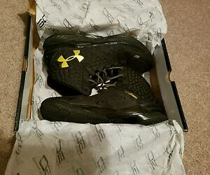 Authentic Under Armour UA Curry 1 One MVP Black & Gold Banner Shoes SC30 sz 12