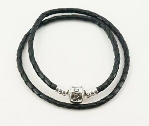 Authentic PANDORA Black Braided Double Leather Braided Bracelet 590705CBK-D