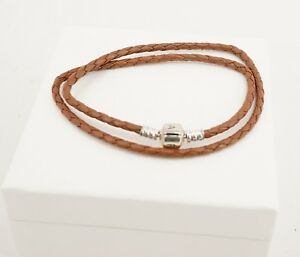 Authentic PANDORA Brown Braided Double Leather Bracelet 590705CBN-D
