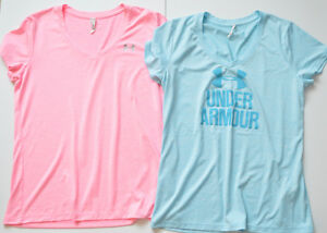 Under Armour Dry Fit Logo Tee Shirts Lot of 2 Pink and Blue Size M EUC
