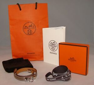 HERMES CUIR RIVALE Double Tour Etoupe Leather Bracelet Size S France
