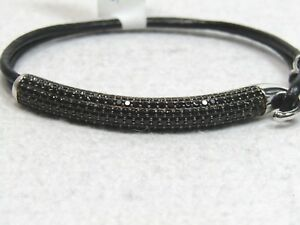 4.50 ct tw Black Spinel Pave' Sterling Bar & Leather Bracelet