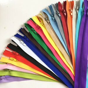 50pcs 10 100CM Nylon Coil Zippers Bulk for Sewing Crafts 20 Colors