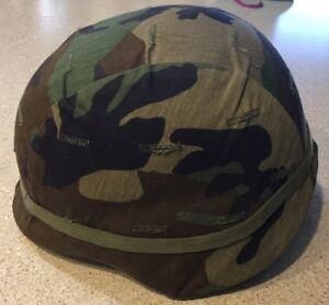 Us Army Issue Kevlar Helmet With Woodland  Cammo Cover