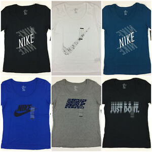 Women's NIKE T Shirt Scoop Neck Athletic Cut Tee Swoosh Just Do It Logo Shirt