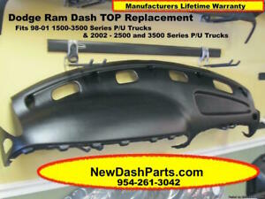 98 99 00 01 02 Dodge Ram Plastic Dash Top Replacement Color is Black