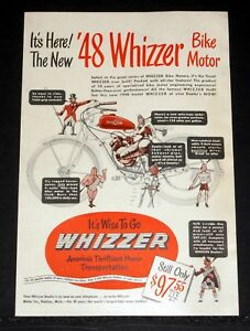 1948 OLD MAGAZINE PRINT AD ITS HERE THE NEW 48 WHIZZER BIKE MOTOR FINEST