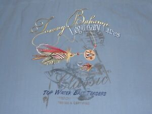 Tommy Bahama Silk Shirt **Small** Embroidered Legendary Lures Top Water Teasers