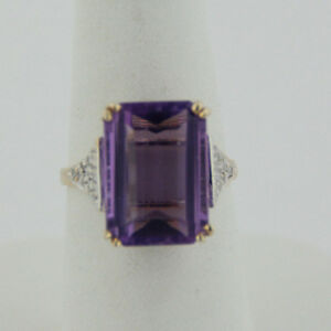 14kt Yellow Gold 14mm Emerald Cut Amethyst and Diamond Ring - Size 5.75
