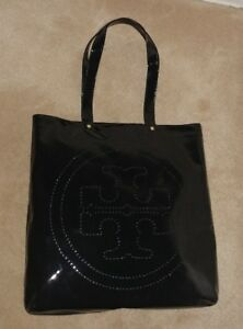Tory Burch Black Patent Leather Large Perforated Logo Tote Handbag
