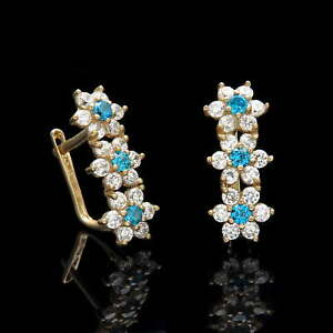 1Ct Created Diamond Blue Topaz Leverback Cluster Flower Earrings 14k Yellow Gold