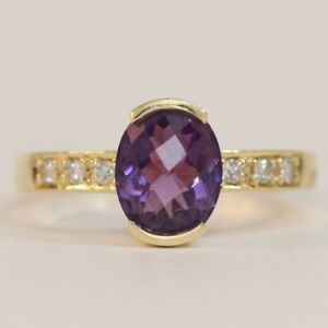 14K Solid Yellow Gold Oval Cut Amethyst & Channel Set Diamond Ring Size 7