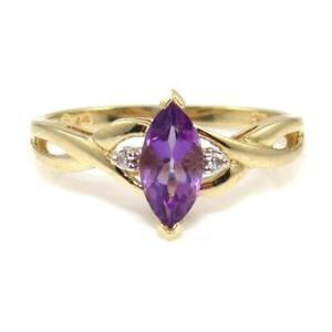 10K Yellow Gold Natural Diamond Accent Purple Amethyst Ring Size 7.5