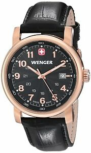 Wenger 01.1041.108 Swiss Made Men's Black Leather Bracelet With Black Dial NWT