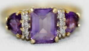 14K Solid Yellow Gold Amethyst & Diamond Ladies Ring Size:6.25 (LP2038115)