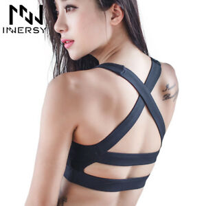 Women Sexy Yoga Shirt Padded Sports Bra Push Up Wireless Dry Fit Tank Tops Gym