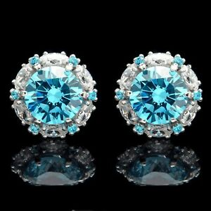 2 CT Blue Topaz Halo Marquise Created Diamond Screwback Earrings 14k White Gold
