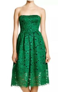 Vera Wang Green Lace Strapless Fit and Flare Midi Cocktail Dress 2 NEW $365 NWT