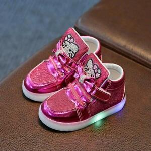 Girls Led Shoes Children Shoes New Spring Hello Kitty Rhinestone Cute With Light $28.19