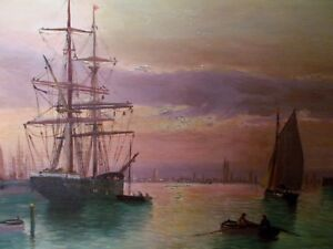 Harbor SUNSET Sail Ships Boats sea Antique OIL PAINTING Signed art gold frame $1,325.00