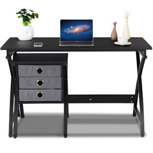 Computer Desk PC Laptop Table Writing Study Workstation Home Office w 3 Drawers
