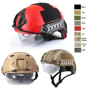 Outdoor CS Shooting Head Protect Gear PJ BJ MH Fast Tactical Helmet with goggles