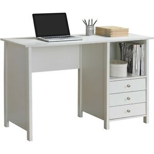 New Home Office Computer Writing Desk with Drawer Storage - White