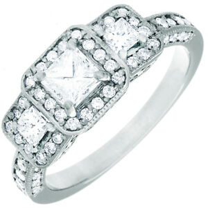 GIA Halo Design Engagement Ring 2.30 Carat Princess cut Diamond 18k Gold