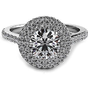 Round Cut Platinum 3.50 CT Halo Design Diamond Engagement Ring GIA Certified