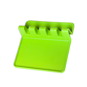 Heat Resistant Ladle Fork Mat - Silicone Spoon Holder Utensil Rest Green