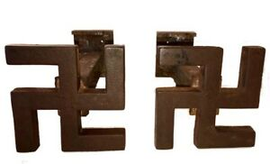 ANTIQUE NATIVE AMERICAN (NAVAJO) ARCHITECTURAL SOLID IRON PAIR OF SWASTIKAS