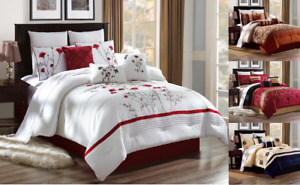 3PC EMBROIDERY FLORAL DESIGNS DUVET COMFORTER BED COVER SET W PILLOW SHAMS