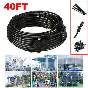 40FT Outdoor Misting Cooling System Garden Irrigation Water Mister Nozzles Set