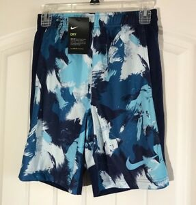 Nike DRY Dri-Fit Youth Boys M Black White Blue Board Shorts NWT 850459-457