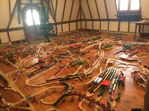 Lot of Wooden Toy Trains 1000+ Engines & 1500+ Train Cars Tracks Structures