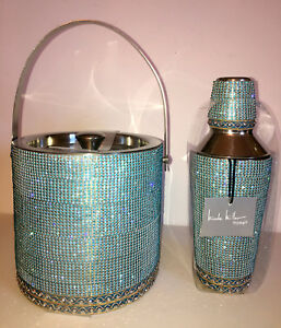 Nicole Miller JEWELED COCKTAIL SHAKER AND ICE BUCKET SET.  BRAND NEW!  BEAUTIFUL