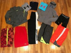 Boys Huge Lot Of 11 Large LXL Under Armour Nike ShirtsShortsPants
