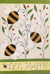 BEE HAPPY BEES and FLOWERS SPRING SUMMER YARD GARDEN FLAG 12.5
