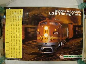 "LGB Trains Bigger Is Better Santa Fe Locomotive 1999 Calendar 24"" X 36"" Poster"
