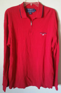 Polo Sport Ralph Lauren Mens Long Sleeve Shirt Large - Polo L Spellout Red Zip