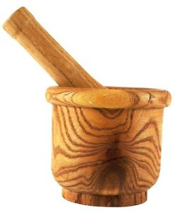Wooden Bamboo Mortar And Pestle For Kitchen, Natural Wood, 4 x 4.5 Inches
