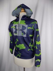 Boy's UNDER ARMOUR STORM Coat Hoodie Jacket Size Youth Medium Camo Blue